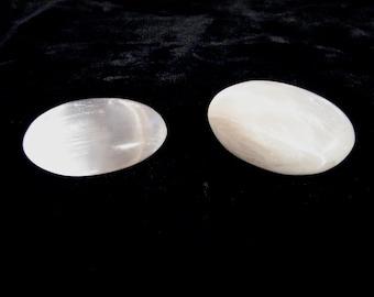 One Pair of White Selenite Sleeping Stones for Sleep, Peaceful Dreams or Meditation