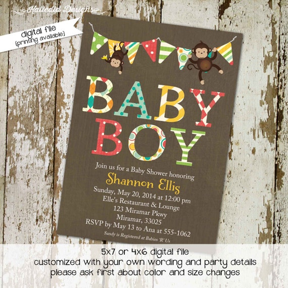 little boy 1st birthday monkey theme co-ed baby shower diaper wipe brunch bunting banner invite fifth birthday two dads 126 Katiedid Designs