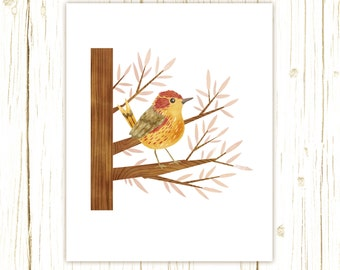 Palm Warbler Print -- bird art --bird art 52 birds stephanie fizer coleman illustration