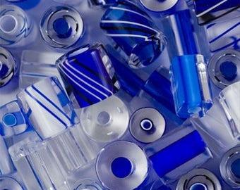 "5 x beads ""Furnace Glass"" WINTER BLUE"