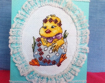 Hand made cross stitch Easter card