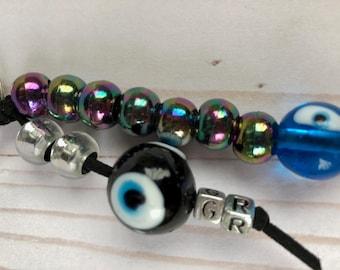 Key chain with murano evil eye glass bead /  Mato xantra apo giali murano