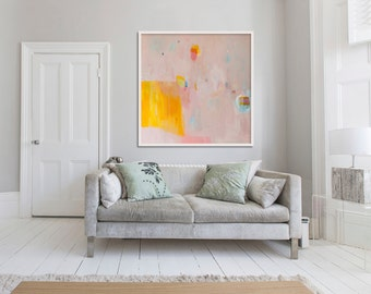 """ABSTRACT GICLÉE PRINT of original painting, large print, pink, yellow, orange, """"Eminently Pink 2"""""""