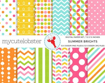 Summer Brights Digital Paper Set - patterned paper, chevron, polka, bright, stripes - personal use, small commercial use, instant download