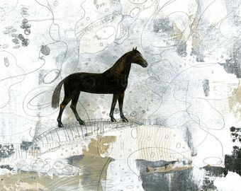 Printable Horse Art Print- Downloadable Horse Wall Art, Whimsical Farmhouse Decor and Modern Horse Print, Makes a Great Horse Lover Gift