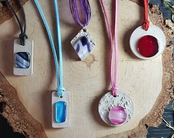 Glass and concrete jewelry