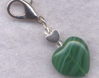 Emerald Heart Stitch Marker Clip Stripey Emerald Isle Heart Single /SM216C