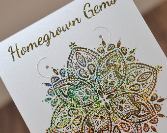 Metallic Glitter Gold Sparkling Geometric Mandala Earring Cards - Necklace Cards - Bow Cards - Ring Cards - Packaging - Wedding - Price Tags