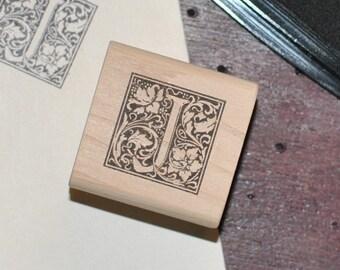 Letter J Rubber Stamp, Monogram J stamp, Wood Mounted Rubber Stamp, Alphabet letter J stamp