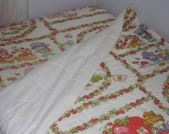 Strawberry Shortcake Twin Bed Comforter and Fitted Sheet Vintage 1980s