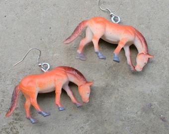 Kitschy HORSE Earrings.....plastic. pierced ears. kitsch. retro. stables. farm animals. horse lover. rider. stallion. handmade. unique. farm