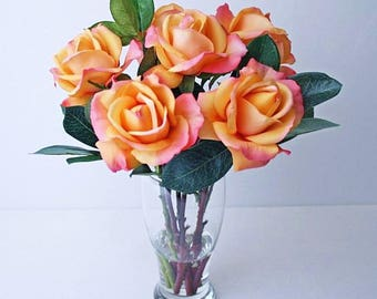 Peach/coral/orange, silk, roses, glass, vase, faux water/acrylic/illusion, Real Touch flowers, floral arrangement, centerpiece, pink, white