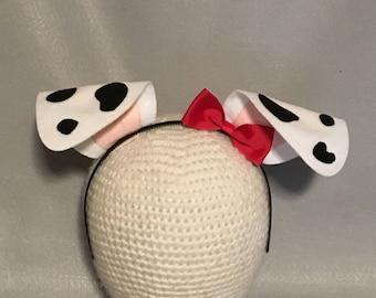 Puppy Dog Ears bow birthday party favors Dalmatian Dalmation black white spots red bow headband  Halloween costume invitation cosplay animal