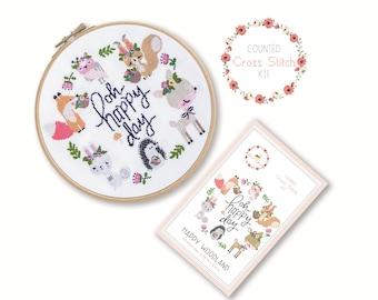 Gezählt Cross Stitch Kit - glücklich Wald / Kreuz Stichbild, Bastelset, Stickerei, Geschenk, Spaß, Dmc, Zubehör, handgemacht, Fuchs, Reh