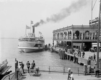 Old Detroit Photography 1890s 1910 Victorian Steamboat Boat Ferry Docking at Belle Isle Park Island Black and White Photography Photo Print