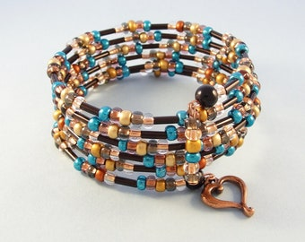 Turquoise & copper bead bracelet - boho memory wire bracelet - beaded stretch bracelet - expandable cuff