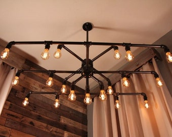 Dining Room/Pool Table -Black Iron Pipe 19 Light Rectangular Chandelier and/or Billards Pool Table Light