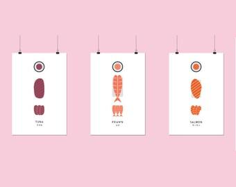 A5 Sushi Art Prints
