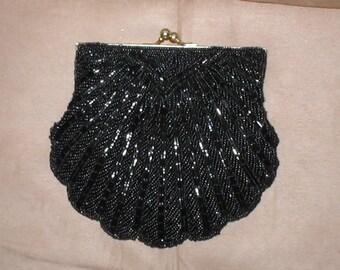 Vintage Black Beaded Clamshell Evening Purse