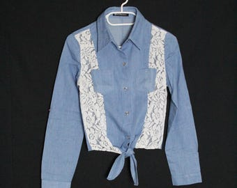 Vintage 1980's vintage /blouse lace shirt / recycled shirt size S - 36
