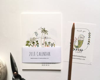 2018 house plants calendar - 2018 desk calendar - 2018 wall calendar, 12 cards - 12 illustrations - illustrated wall cards calendar plants