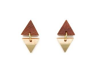 Triangle gold drop earrings gold, Wood jewelry Wooden earrings for women Mismatched earrings Triangle earrings Tribal earrings Post earrings