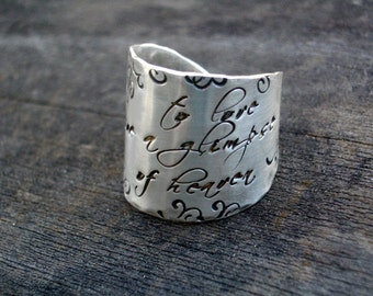 Signature Wide Band Message Ring for moonjobie