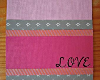 Valentine's Card - Pink & grey love