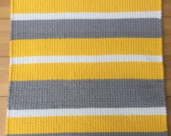 Twined Rug- Yellow,Gray, and White- Made to Order