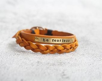 Father's Day Bracelet, Be Fearless Bracelet , Personalized leather bracelet leather family engraved leather bracelet, Inspiration Bracelet