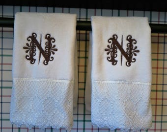Hand Towels with beautiful monogram- Lace trim-set of two-cream or white color