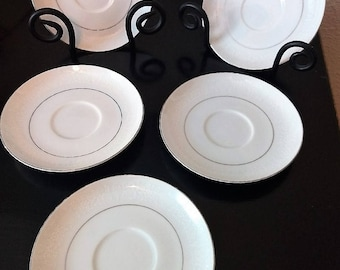 5-Crown Victoria China Lovelace Pattern Saucers 5 3/4in 1972