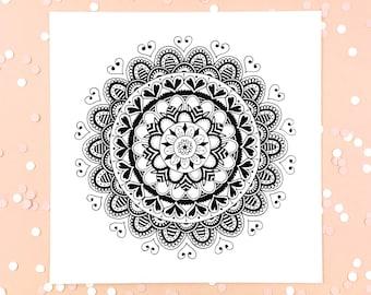 "Home Decor Mandala Print     Wall Art   Mandala Art Print   Office Decor   Boho Art   Wedding Gift    8""x8"" or 10""x10""   ""Queen of Hearts"""