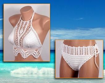 Crochet bikini, bridal shower, WHITE Swimsuit, Summer trends, LoveKnittings