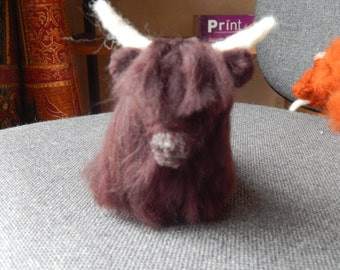 Custom Needle felted  Highland cow ( kyloe ), Heeland Coo. Cow Soft Sculpture. Custom Highland Cow Sculpture
