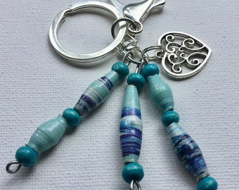 Silver Keychain with Blue Recycled Paper Beads from Mzuribeads Uganda - Fair Trade Beads - Length 10.5cm