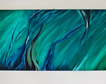 oil painting, abstract art, green painting, original oil painting,