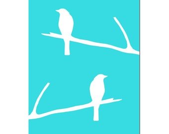 Birds on a Branch Nursery Art Decor - 5x7 Print - CHOOSE YOUR COLORS - Shown in Aqua and White