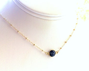 Sapphire Necklace, September Birthstone Necklace, Septemebr Birthday Necklace, Satellite Chain in Gold Filled
