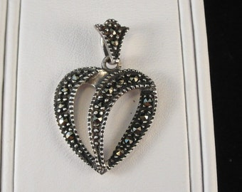 Wonderful Sterling Silver Marcasite Heart Necklace