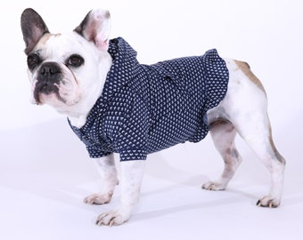 REG/LARGE French Bulldog Dog Hoodie with Ruffle in Navy Heart Knit
