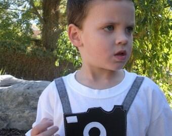 """Baby clothes Adorable """"Little Tourist"""" felt camera T-Shirt kids clothes"""