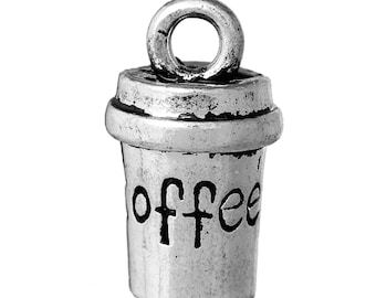 """10 3D Charm Pendants Cup Antique Silver Message """" COFFEE """" Carved 15mm (B30i)"""