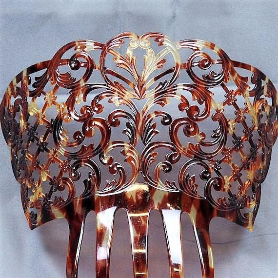 OVERSIZED Hair Comb / Faux Tortoise Shell / Celluloid Mantilla / Art Nouveau / Tortoiseshell