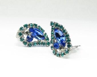 Blue Paisley Rhinestone Clip-on Earrings Caribbean Green Paisley Lotus Crystal Earrings