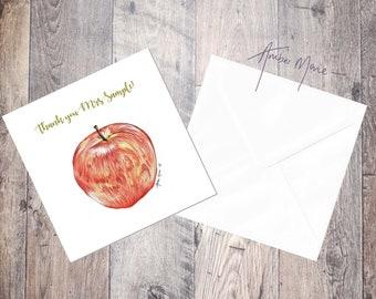 Apple Thank you / Thank you Teacher / Teacher Gift Greeting Card