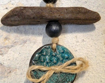 "Suspension ""turquoise button"" out of ceramics, raku, hand-made"