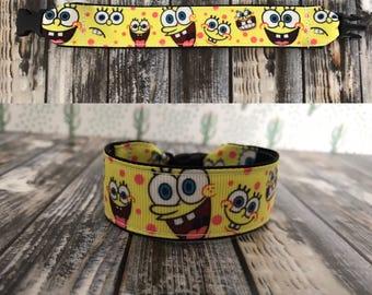 Spongebob inspired bracelet, kids i.d bracelet, personalize