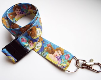 Beauty and the Beast - Handmade Ribbon Lanyard/ Keychain/ ID Holder/ Phone/ Whistle