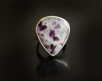 Amethyst Crystal Ring, Tetris Jewelry, Artisan Handmade Ring